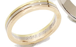 イニシャル刻印入りの金のリング