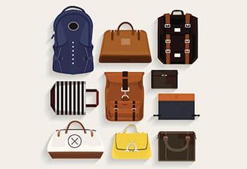 大量のバッグ