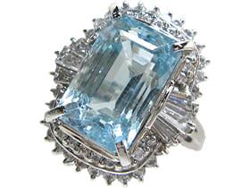 Pt900 アクアマリン 15.1ct ダイヤモンド リング<