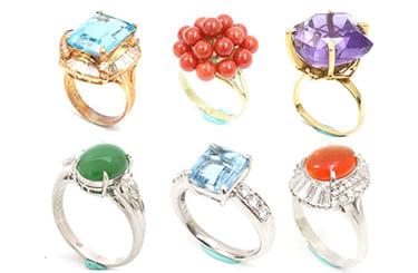 色々な宝石のリング