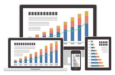相場のグラフを表示しているパソコンやタブレット