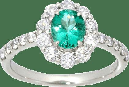 パライバトルマリン ダイヤモンド リング Pt900 0.89ct D0.98ct
