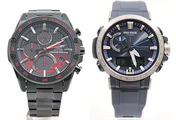 カシオのエディフィスとプロトレック腕時計