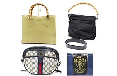グッチの古いバンブーやシェリーラインのバッグとクレストロゴ