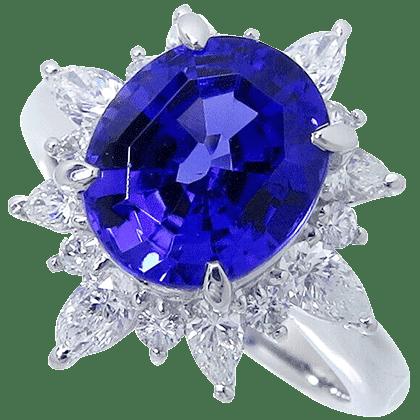 タンザナイト-ダイヤモンド-リング-Pt900-3.2ct-D1.02ct