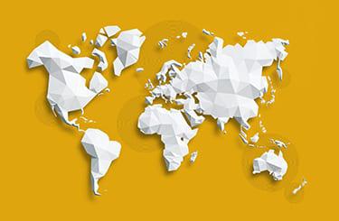 販売先の幅広さを示す世界地図