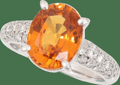 オレンジサファイア 3.76ct D0.55ct Pt900 リング