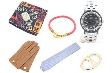 エルメスのカレ・スカーフリング・グローブ・ネクタイ・時計・ブレスレットなど買取アイテムが幅広い