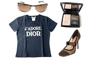 ディオールのサングラス・Tシャツ・化粧品・サンダル
